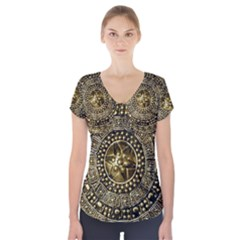 Gold Roman Shield Costume Short Sleeve Front Detail Top
