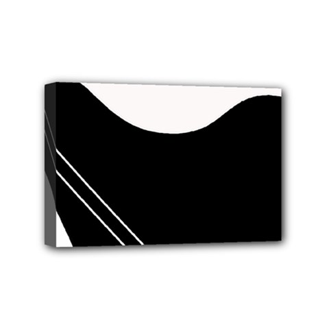White and black abstraction Mini Canvas 6  x 4
