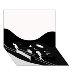 White and black abstraction LOVE Bottom 3D Greeting Card (7x5)