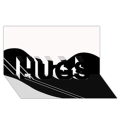 White and black abstraction HUGS 3D Greeting Card (8x4)