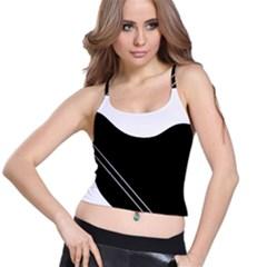 White and black abstraction Spaghetti Strap Bra Top