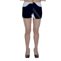 White and black abstraction Skinny Shorts