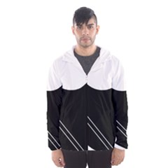 White and black abstraction Hooded Wind Breaker (Men)
