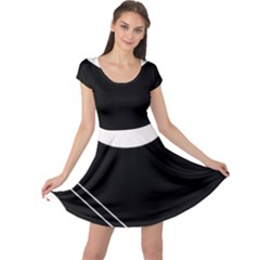 White and black abstraction Cap Sleeve Dresses