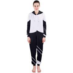 White and black abstraction Hooded Jumpsuit (Ladies)