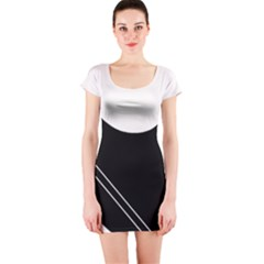 White and black abstraction Short Sleeve Bodycon Dress