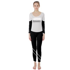 White and black abstraction Long Sleeve Catsuit