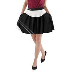 White and black abstraction A-Line Pocket Skirt