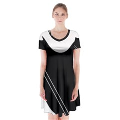 White and black abstraction Short Sleeve V-neck Flare Dress