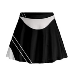 White and black abstraction Mini Flare Skirt