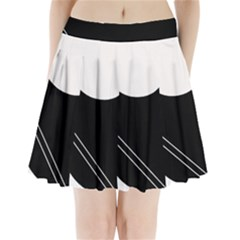 White And Black Abstraction Pleated Mini Skirt