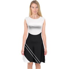 White and black abstraction Capsleeve Midi Dress