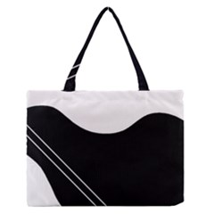 White and black abstraction Medium Zipper Tote Bag