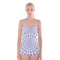 Illustration Binary Null One Figure Abstract Boyleg Halter Swimsuit