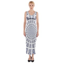 Illustration Binary Null One Figure Abstract Fitted Maxi Dress