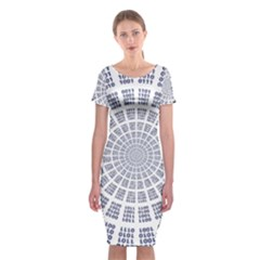 Illustration Binary Null One Figure Abstract Classic Short Sleeve Midi Dress