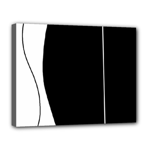White and black 2 Canvas 14  x 11