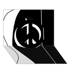 White and black 2 Peace Sign 3D Greeting Card (7x5)