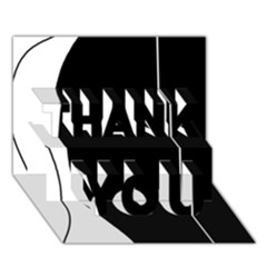 White and black 2 THANK YOU 3D Greeting Card (7x5)