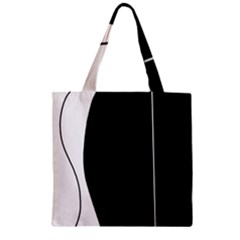 White and black 2 Zipper Grocery Tote Bag