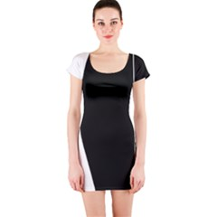White and black 2 Short Sleeve Bodycon Dress
