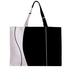 White and black 2 Medium Zipper Tote Bag