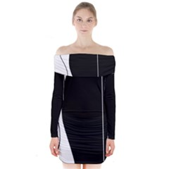 White and black 2 Long Sleeve Off Shoulder Dress