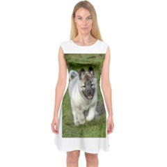 Norwegian Elkhound Puppy Capsleeve Midi Dress