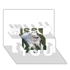 Samoyed Laying In Grass Miss You 3D Greeting Card (7x5)