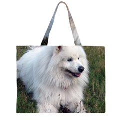 Samoyed Laying In Grass Large Tote Bag
