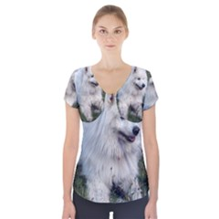 Samoyed Laying In Grass Short Sleeve Front Detail Top