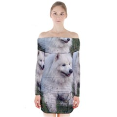 Samoyed Laying In Grass Long Sleeve Off Shoulder Dress