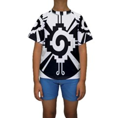 Maya Calendar Native American Religion Kids  Short Sleeve Swimwear