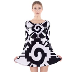 Maya Calendar Native American Religion Long Sleeve Velvet Skater Dress