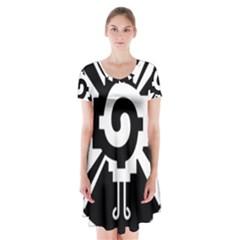 Maya Calendar Native American Religion Short Sleeve V-neck Flare Dress