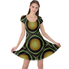 Abstract Background Design Cap Sleeve Dresses