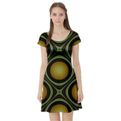 Abstract Background Design Short Sleeve Skater Dress