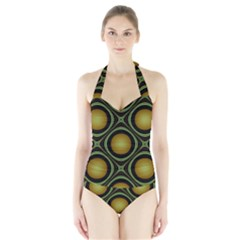 Abstract Background Design Halter Swimsuit