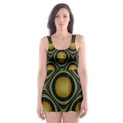 Abstract Background Design Skater Dress Swimsuit
