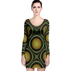 Abstract Background Design Long Sleeve Velvet Bodycon Dress