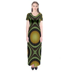 Abstract Background Design Short Sleeve Maxi Dress