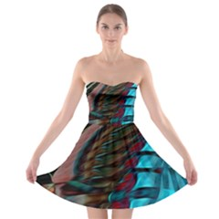 Abstract Background Lines Art Strapless Bra Top Dress