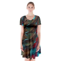 Abstract Background Lines Art Short Sleeve V-neck Flare Dress