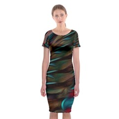 Abstract Background Lines Art Classic Short Sleeve Midi Dress