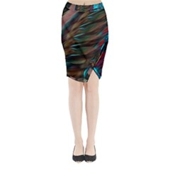 Abstract Background Lines Art Midi Wrap Pencil Skirt