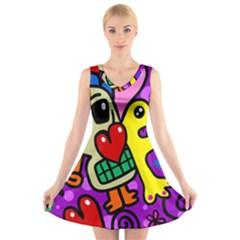 Abstract Background Pattern Design V-Neck Sleeveless Skater Dress
