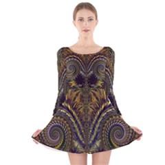 Abstract Fractal Pattern Long Sleeve Velvet Skater Dress