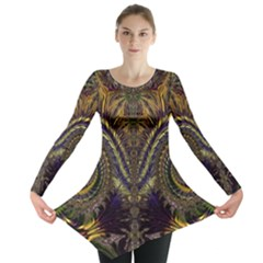 Abstract Fractal Pattern Long Sleeve Tunic