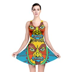 Abstract Mask Figure Traditional Reversible Skater Dress