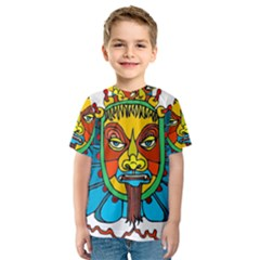 Abstract Mask Figure Traditional Kids  Sport Mesh Tee